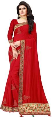 KRISHNA DESIGNER Embroidered Bollywood Georgette Saree(Red)