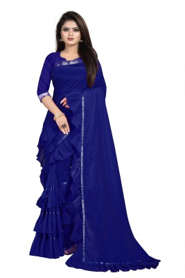supalee tex Solid Bollywood Pure Silk Saree(Blue)