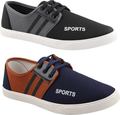 Chevit Smart Casuals Canvas Shoes Combo pack of 2 Sneakers For Men(Multicolor)