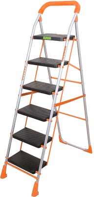 Flipzon Deluxe Heavy Foldable 6 Steps Ladder with Wide Steps & Anti-Skid Shoes Steel Ladder(With Platform, Hand Rail)