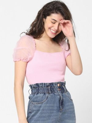Only Casual Short Sleeve Solid Women Pink Top