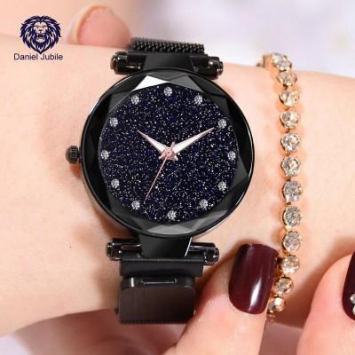 Daniel Jubile Present 12 Diamond Black 21st century Magnetic Chain Analog Watch  - For Women