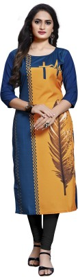 Dxfashion Women Printed Straight Kurta(Blue, Orange)