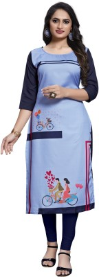 Siya Fashion Women Printed Straight Kurta(Blue)