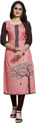 Siya Fashion Women Printed, Self Design Straight Kurta(Pink, Brown)