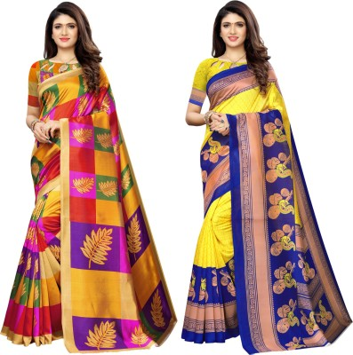 Saara Floral Print, Color Block, Animal Print, Geometric Print, Printed Banarasi Cotton Silk Saree(Pack of 2, Red, Blue, Yellow)