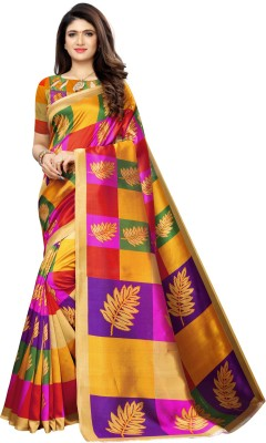 Samah Printed, Geometric Print Kanjivaram Poly Silk, Cotton Silk Saree(Multicolor, Purple, Yellow)