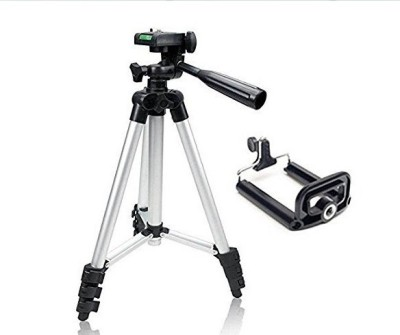 Appena Portable Metal 3110 Tripod Stand With carry Bag And Mobile Holder Tripod, Monopod Kit, Tripod Ball Head, Tripod Kit, Monopod(Silver, Supports Up to 1500 g)
