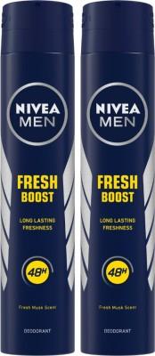 NIVEA Fresh Boost Body Spray  -  For Men(400 ml, Pack of 2)