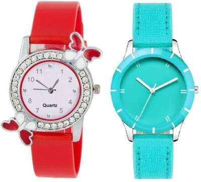 Heeva Slim & Shiny Look Sky Blue & Red butterfly on diamond studded case analog 71431 Standard Quality Premium Colllection Analog Watch  - For Women