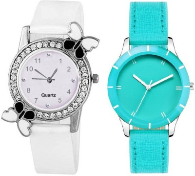 Heeva Slim & Shiny Look Sky Blue & White butterfly on diamond studded case analog 71434 Standard Quality Premium Colllection Analog Watch  - For Women