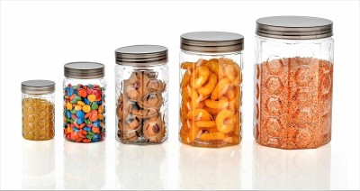 KMT New Hexagonal Shape Kitchen Transparent Storage containers 30 Pcs Transparent Jars & Container [pack of 30]  - 2000 ml, 1200 ml, 650 ml, 350 ml, 250 ml Plastic Grocery Container(Pack of 30, Multicolor)
