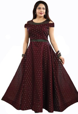 WHOOSEE Women Gown Maroon Dress