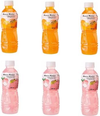 Mogu Mogu Orange and Lychi Juice with 25 % Nata De Coco (Pack of 6)(6 x 50 ml)