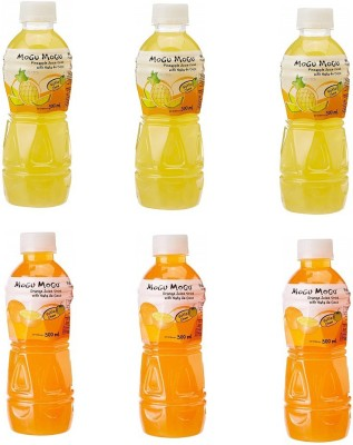 Mogu Mogu Pinapple and Orange Juice with 25 % Nata De Coco (Pack of 6)(6 x 50 ml)