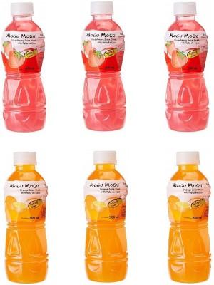 Mogu Mogu Strawberry and Orange Juice with 25 % Nata De Coco (Pack of 6)(6 x 50 ml)