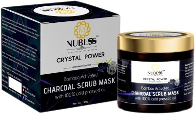 NUBESS Crystal Power- India's First Crystal gem & Flower essences (Fes) Infused Bamboo Activated Charcoal Scrub Healing Clay Mask With...