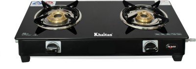 Khaitan 2 Burner BP Nano Premium MS Black Glass Manual Gas Stove(2 Burners)