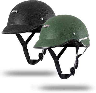 Autofy Habsolite SET OF 2 COMBO All Purpose Safety Helmet With Quick Release Strap Motorbike Helmet(Black & Green)