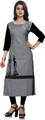 GS.FASHION Women Printed Straight Kurta(White, Black, Grey)