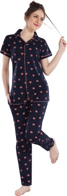 FASHIGO Women Printed Dark Blue Shirt & Pyjama set