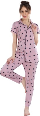 Fashigo Women Printed Pink Shirt & Pyjama set