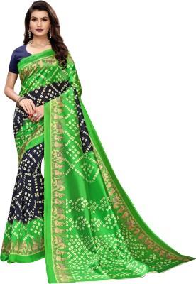 ESOMIC Printed Bandhani Art Silk Saree Green