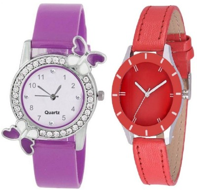 Heeva Slim & Shiny Look Red & Purple butterfly on diamond studded case analog 71445 Standard Quality Premium Colllection Analog Watch  - For Women