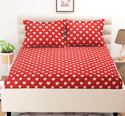 CHHAVI INDIA 120 TC Microfiber Double 3D Printed Bedsheet(Pack of 1, Red)