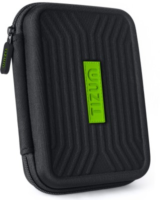 TIZUM Hard Drive Case 2.5 inch Portable shockproof EVA Carrying Case Shell with Zipper(For 2.5 inch Hard Drive, Black)