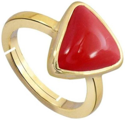 Raviour Lifestyle Triangle Coral Stone Brass Coral Brass Plated Ring Brass Coral Brass Plated Ring