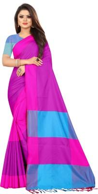 BANARASHIT Solid Banarasi Cotton Silk Saree Pink