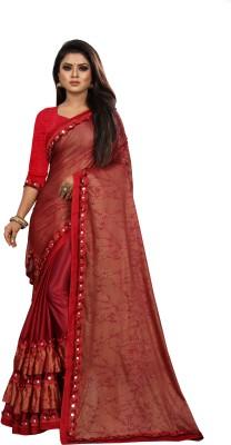 Sanskriti Designer Printed Bollywood Lycra Blend Saree(Red)