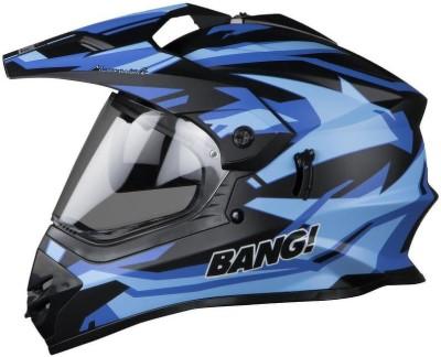 Steelbird SB-42 Bang Moonwalk Motorbike Helmet(Mat Black, Blue)