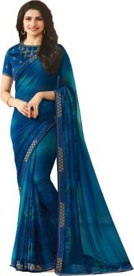 Bombey Velvat Fab Printed Fashion Poly Georgette, Chiffon Saree(Blue)