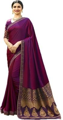 Maruti Creation Solid Fashion Georgette Saree(Purple)