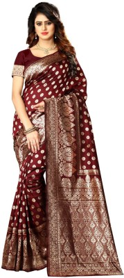 shoppershopee Woven Kanjivaram Poly Silk Saree(Pack of 2, Maroon)