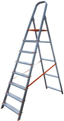 AGUERRI 8 Step Foldable Aluminium Ladder with Platform for Home Use (Silver) Aluminium Ladder(With Platform)