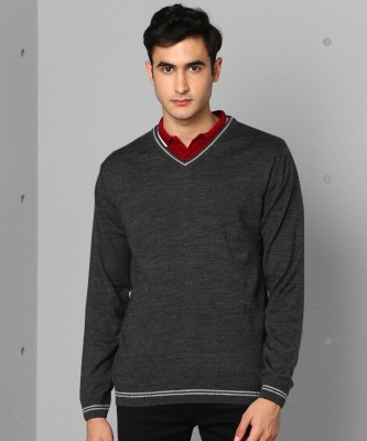 Metronaut Solid V-neck Casual Men Grey Sweater