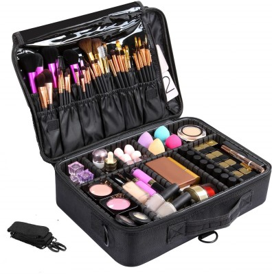 LACOPINE Large Capacity Makeup Bag,Cosmetic Organizer with Removable And Adjustable Dividers and Strap for Cosmetics Makeup Brushes Accessories Make Up, Jewelry Vanity Box(Black)