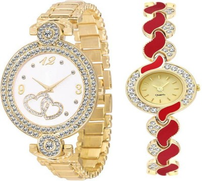 MEET Awesome Look Red Metal Strap Diamond Studded Standard Quality Watch Analog Watch  - For Women