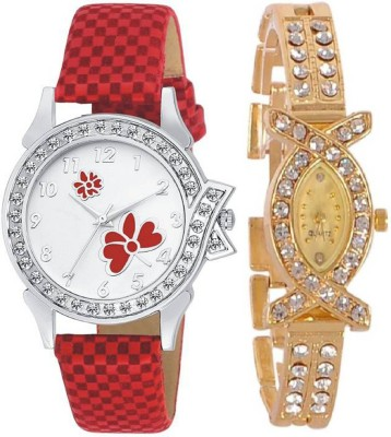 MEET Latest attractive and trending Red & Gold Velvet & Metal Leather Strap combo Analog Watch  - For Women