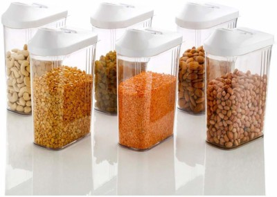 2Mech Plastic Cereal Dispenser Storage Jar Set, New Stylist Container Set of 6,750ml, Set of 6, Multicolor  - 750 ml Plastic Grocery Container(Pack of 6, Clear)