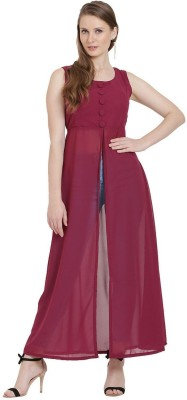 sangai its rare Casual Sleeveless Solid Women Maroon Top