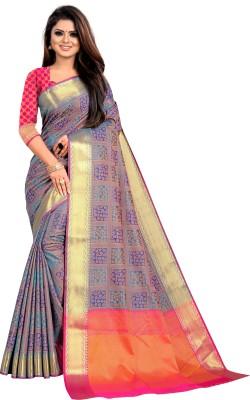 COSBILA FASHION Woven Banarasi Jacquard, Art Silk Saree(Grey)