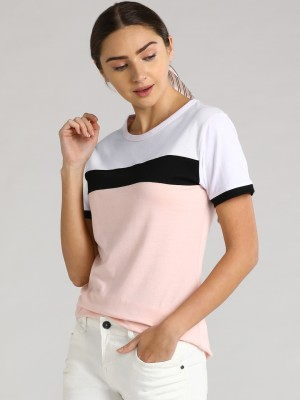 LEWEL Casual Regular Sleeve Color Block Women White, Pink, Black Top