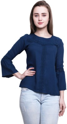 FMC Casual Bell Sleeve Lace Women Blue Top