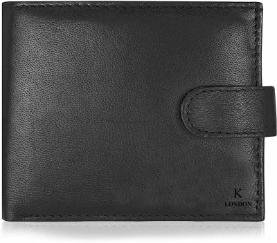 K London Men Black Genuine Leather Wallet 3 Card Slots