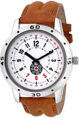 JINKUDI New Sports Design White Dial   Brown Strap Analog Watch   For Boys JINKUDI Wrist Watches