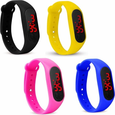 ND FASHION DIGITAL DIAL WATCHES COMBO FOR BOYS AND GIRLS M2 WATH COMBO 4 YELLOW PINK BLUE BLACK Analog Watch  - For Men & Women